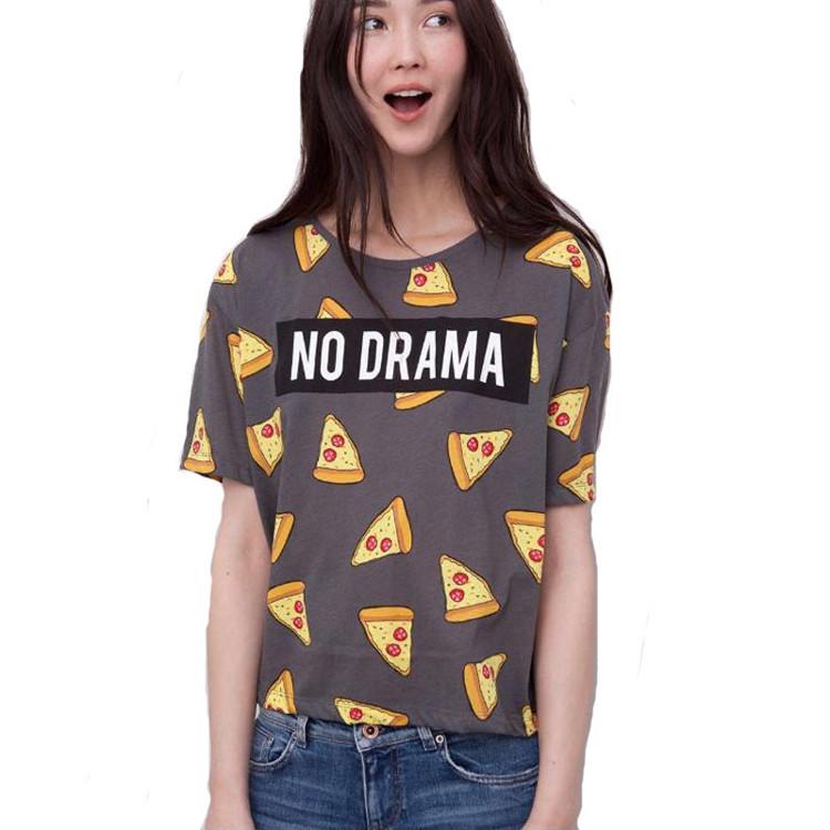 2016 New Pizza Cake print Cotton T shirt Women Girl NO DRAMA tops short sleeve shirts casual camisas femininas tops(China (Mainland))