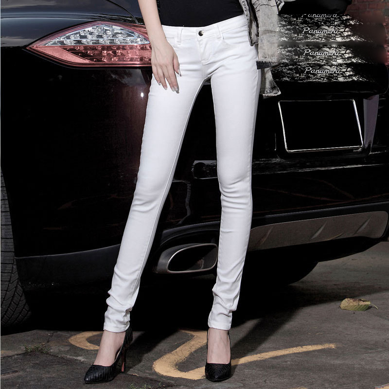 Jeans Woman Fashion 2015 New Brand Spring White Pencil Jeans High Quality Denim Skinny Jeans Spandex Sexy Low Waist Women Pants(China (Mainland))