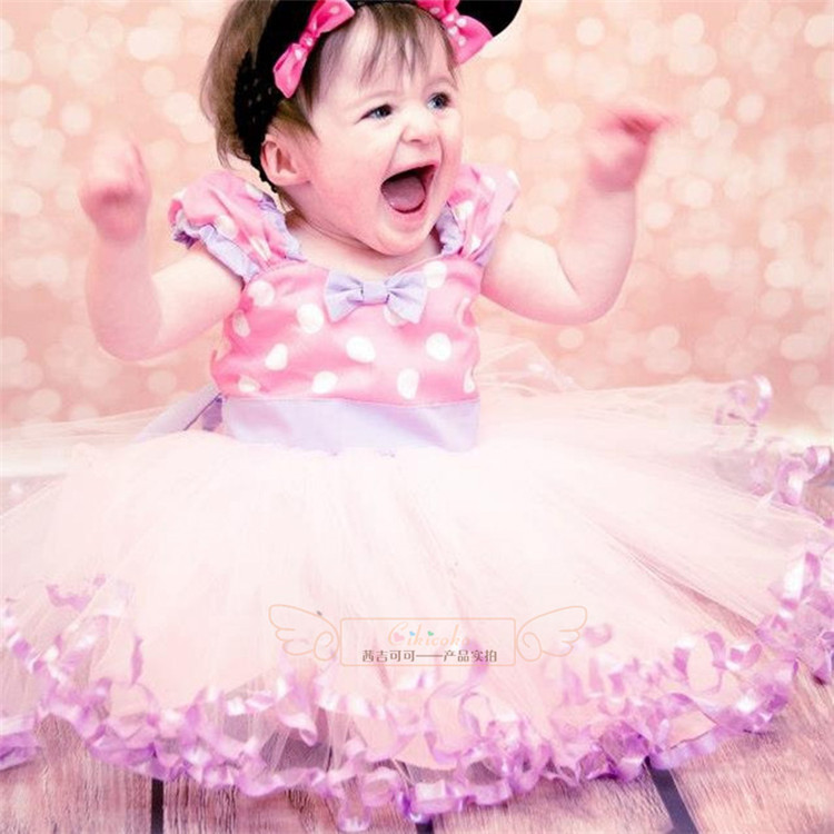 Summer High quality girls princess dress pink and purple Mesh Polka Dot toddler dress Sling tutu girls dresses BOW kids clothes(China (Mainland))