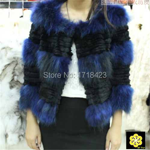 arrive 2015 fashion patchwork design real fox fur coat raccoon jacket elegant women warm coats slim - BT Fur NO1 store