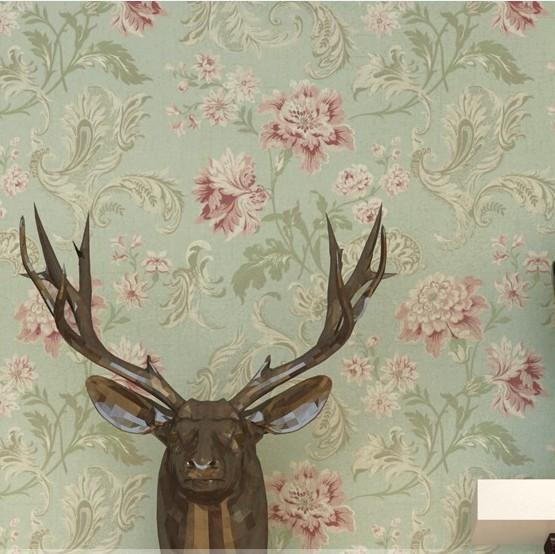 Modern vintage floral wallpaper - Tapete taubenblau ...