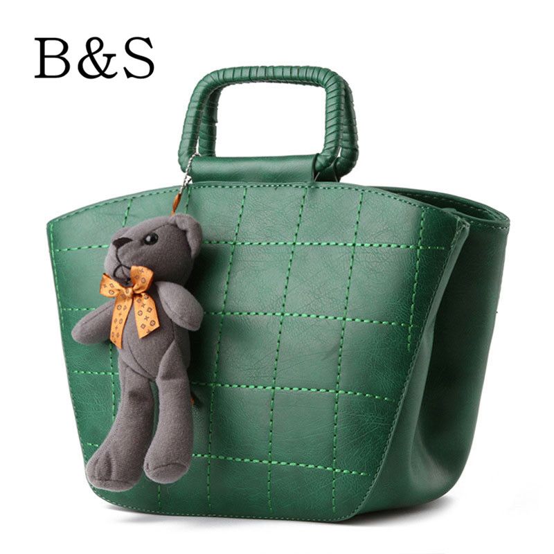 Classic Vintage Bucket Style Leather Women Bags 8 Colors Tote Bag Shopper Bags With Bear Toy Women Handbags Vrouwen Handtas 2016(China (Mainland))