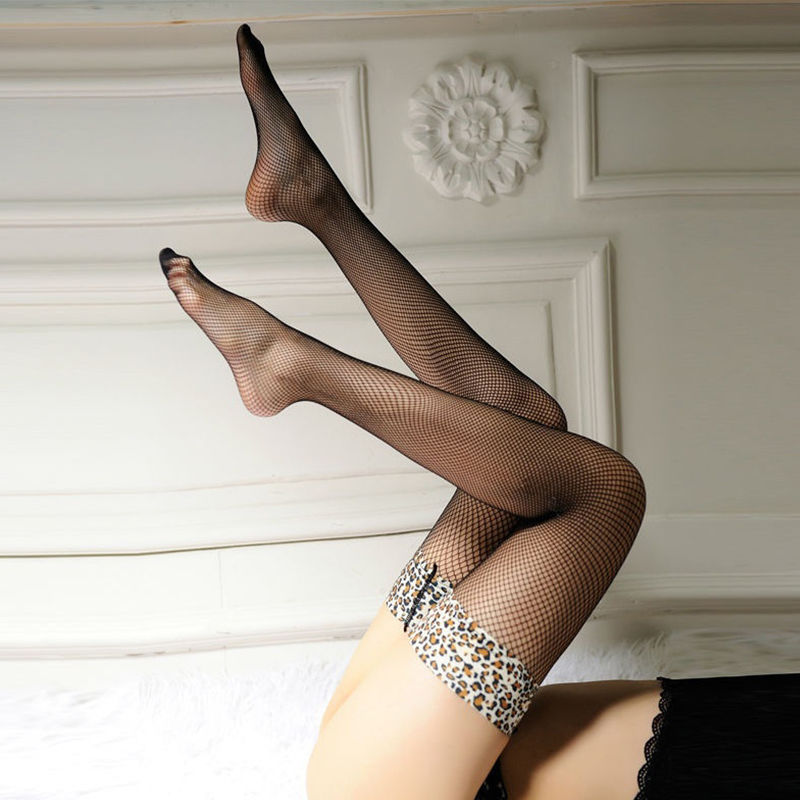 1 pair Trendy Female Sheer Lace Top Thigh High Stocking Over Knee Side Mesh Stocking women intimates(China (Mainland))