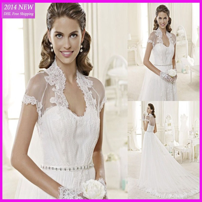 Vestidos de noiva Custom Made A-line Sexy See Through Lace Jacket Beading Appliques On Tulle Wedding Dresses casamento MG-173(China (Mainland))