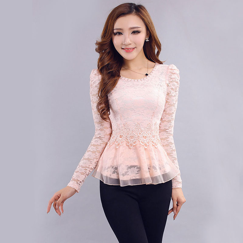 Model 2015 Women White Lace Blouse Slash Neck OL Elegant Long Sleeve Lace
