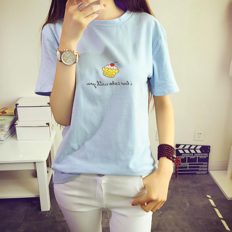 2015 College Wind Korean Fan cute little cake round neck loose short-sleeved T-shirt Одежда и ак�е��уары<br><br><br>Aliexpress