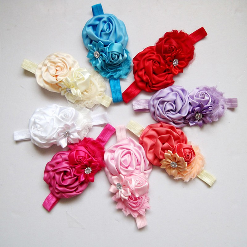 160pcs/lot New Arrival Wholesale Handmade Flower Headband Elastic Newborn Baby Girl Headbands 2015 Kids Hair Accessories(China (Mainland))