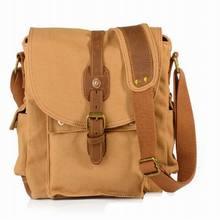 School Shoulder Bag Casual Crossbody Bags Vintage Canvas Leather Messenger Bags Travel Satchel Khaki Army Green