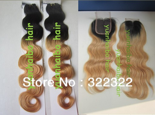 Фотография best quality 1b/27# two tone color brazilian virgin remy hair 3pcs weft with 1pc closure free shipping