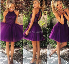 Hot Sale Organza Beaded Pleat High Neck Backless Ball Gown Mini Short Modest Cheap Cute Purple Homecoming Dresses 2015 5986(China (Mainland))