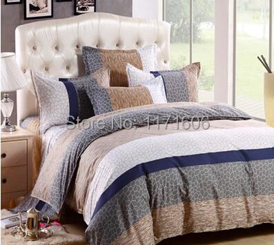 Home Textile Classic Stripes Grid Cotton 4pcs Bedclothes
