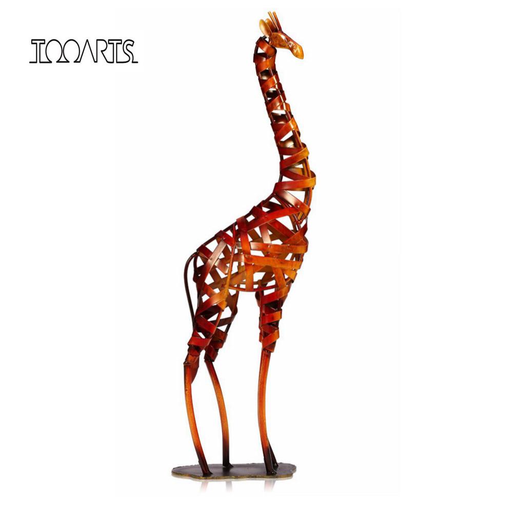 Tooarts New Brand Metal Sculpture Iron braided Giraffe Modern Sculpture Articles Handicrafts Art Home Decoration Accessories(China (Mainland))