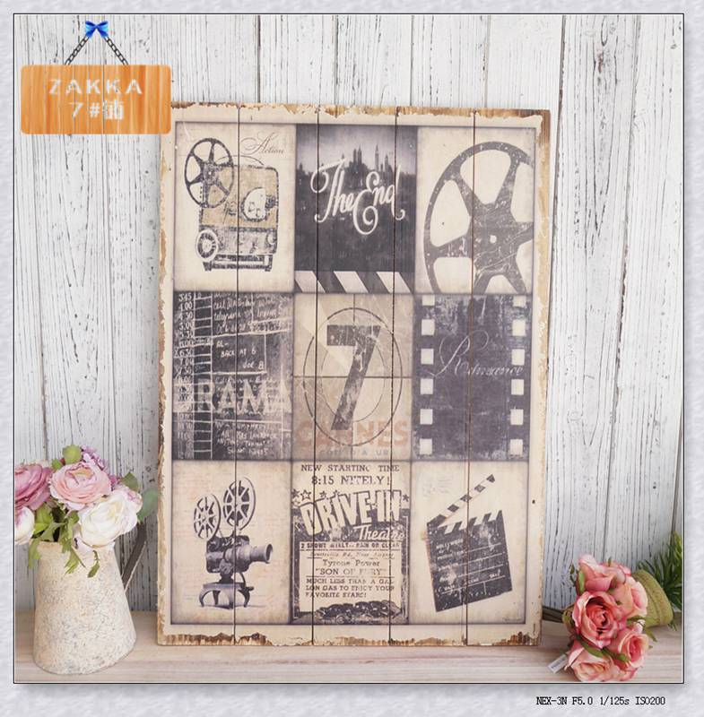 Retro do the old fashioned movie projector wood painting frameless painting old memories<br><br>Aliexpress