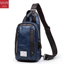 UIYI brand design handbag men messenger pu leather men's single strap chest pack biking shoulder bags travel small bag 150039(China (Mainland))
