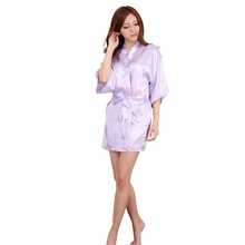 RB030  Sexy Large Size Sexy Satin Night Robe Lace Bathrobe Perfect Wedding Bride Bridesmaid Robes Dressing Gown For Women(China (Mainland))