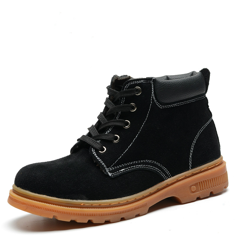 Men Black Steel Toe Caps Work Safety Shoes Women High Top Soft Suede Leather Ankle Boots Spring ...