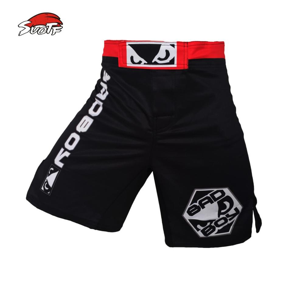 SUOTF MMA boxing match fitness training black and blue loose breathable cotton boxer shorts muay thai boxing muay thai shorts(China (Mainland))