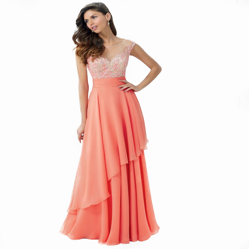 fashion elegant orange evening dress 2016 new scoop beaded crystal chiffon women pagenat gown for formal prom party(China (Mainland))