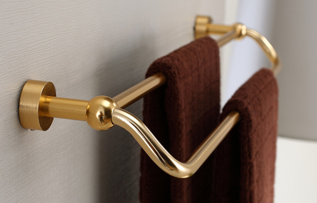 luxury high-class bath towel bars rod shelf towel holder bathroom accessory hotel supplie brush golden aluminum