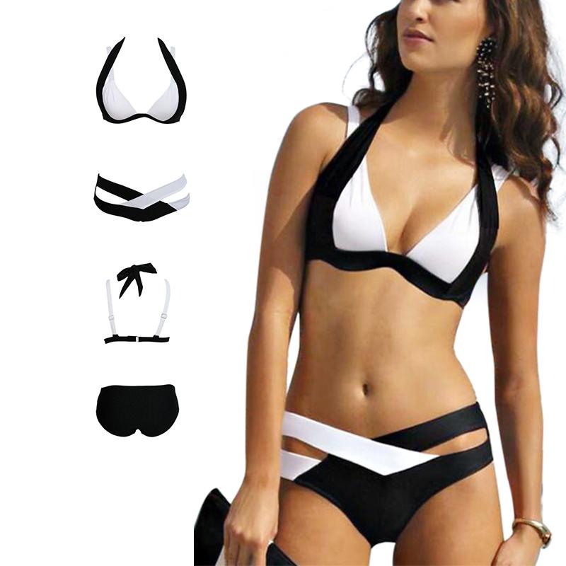 B.BANG 2016 Sexy Woman Bikinis Swimsuit Bathing Suits Two-piece Swim Wear Halter Top Push Up Bikini Set Beach Plus Size Swimwear(China (Mainland))