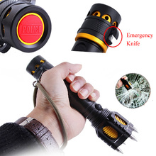 4 IN 1 Camping Light 3W High Power Strong Flashlight Anti-rape Weapons LED Torch Rescue Knife +Alarm Speaker 500m Lighting Range