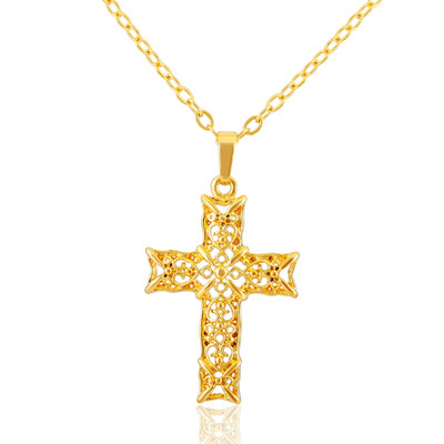 New hot fashion pendant / necklace jewelry plating 18k gold hollow cross pendant / necklace fashion jewelry DZ1181(China (Mainland))