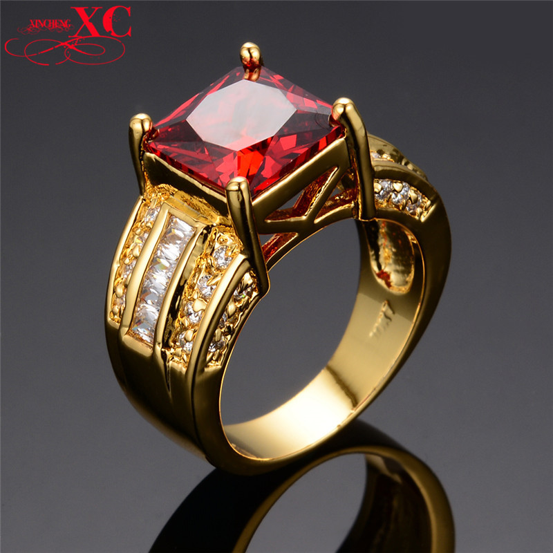 Wholesale New Fine Jewelry Brand New Ruby AAA Zircon men's 14KT Yellow Gold Filled Ring for Men Size 8/9/10/11/12 RY0026(China (Mainland))