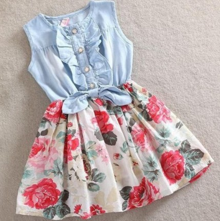 2015 Summer Girl Dress Fashion Bow Ruffles Denim Flower Dresses Kids Clothes Retail 1PC ZZ3163(Hong Kong)
