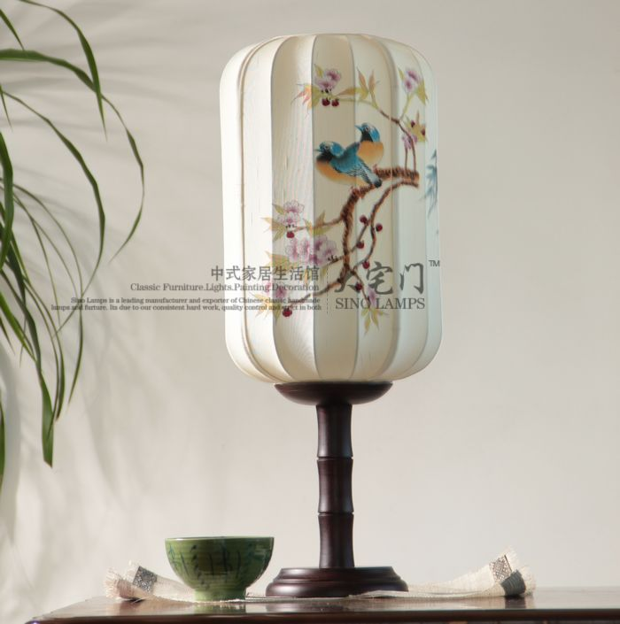 Brief chinese style classic lamps classical table lamp ofhead fabric hand painting lamp(China (Mainland))