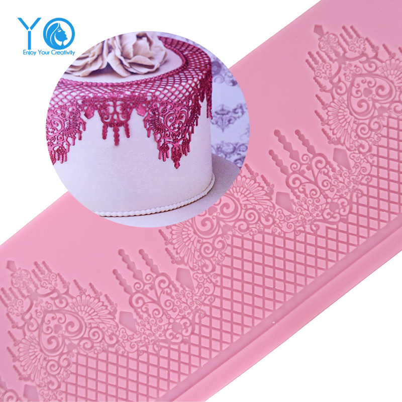 359mm 133mm Mould Silicone Mat Wedding Cake Decoration Silicone Lace Mold Cake Mould Kitchen