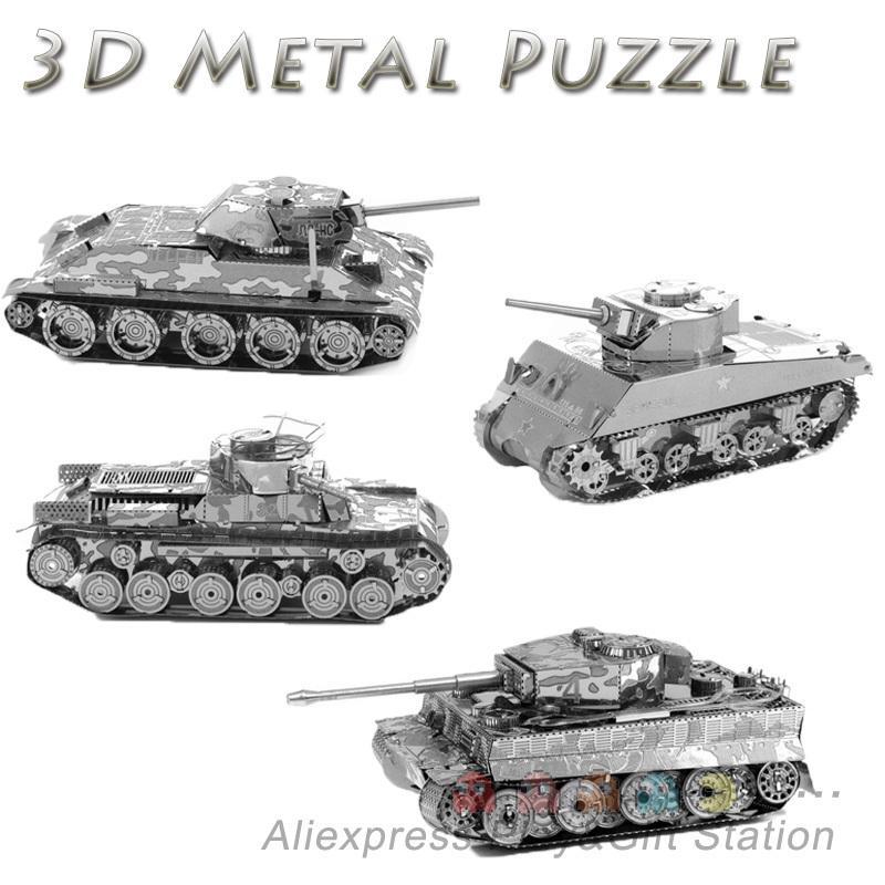 3D Metal Puzzles DIY Model Tiger Tank T34 tank Sherman tank Children Jigsaws toys Present Gift(China (Mainland))