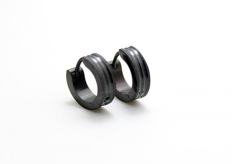 wholesale 24 pair black hoop huggie earrings stainless