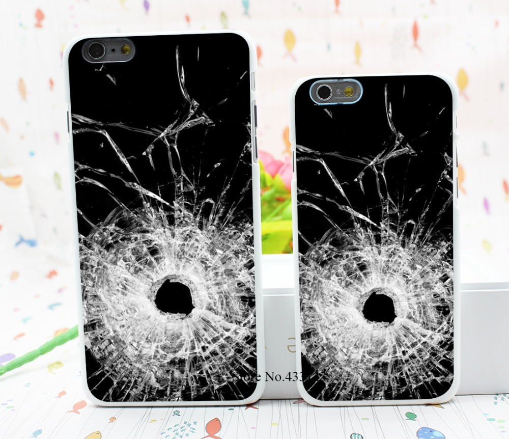 bullet hole glass Style Hard White Cover Skin Back Case for iPhone 6 6s 6 plus(China (Mainland))