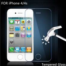For iPhone 4 /4s Tempered Glass Screen Protector Film Screen Protective Film 9H 2.5D with retail box For iPhone 4