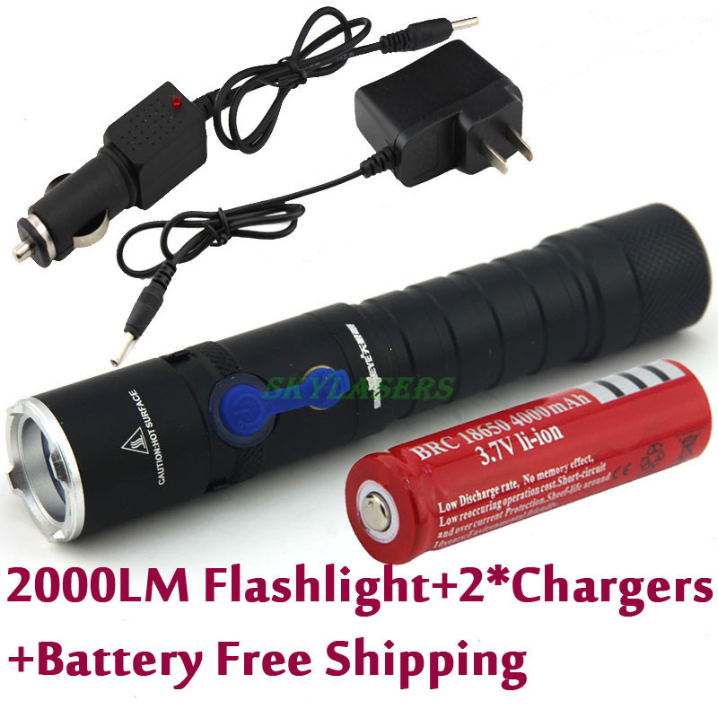 Фотография 2014 New Slim Beautiful looking 3-Modes Rechargeable Mini Cree Q5 LED Flashlight Torch + AC Charger + Car Charger + Battery