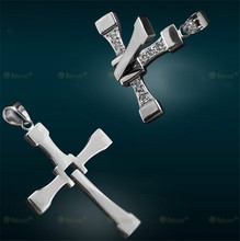 New Fast and Furious 7 Dominic Toretto Cross Pendant Necklace for Men Popular Silver Gold Plated