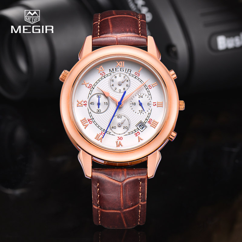 MEGIR 2013 men's fashion leather quartz watch casual military style analog wrist watch man chronograph brand watches for male(China (Mainland))