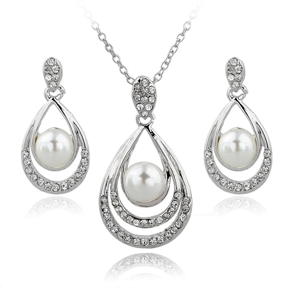 Гаджет  Fashion Jewelry Sets 18k Real Gold/Silver Plated Rhinestone Jewelry Sets Necklace Earrings Pearl Set For Women SET140029 None Ювелирные изделия и часы