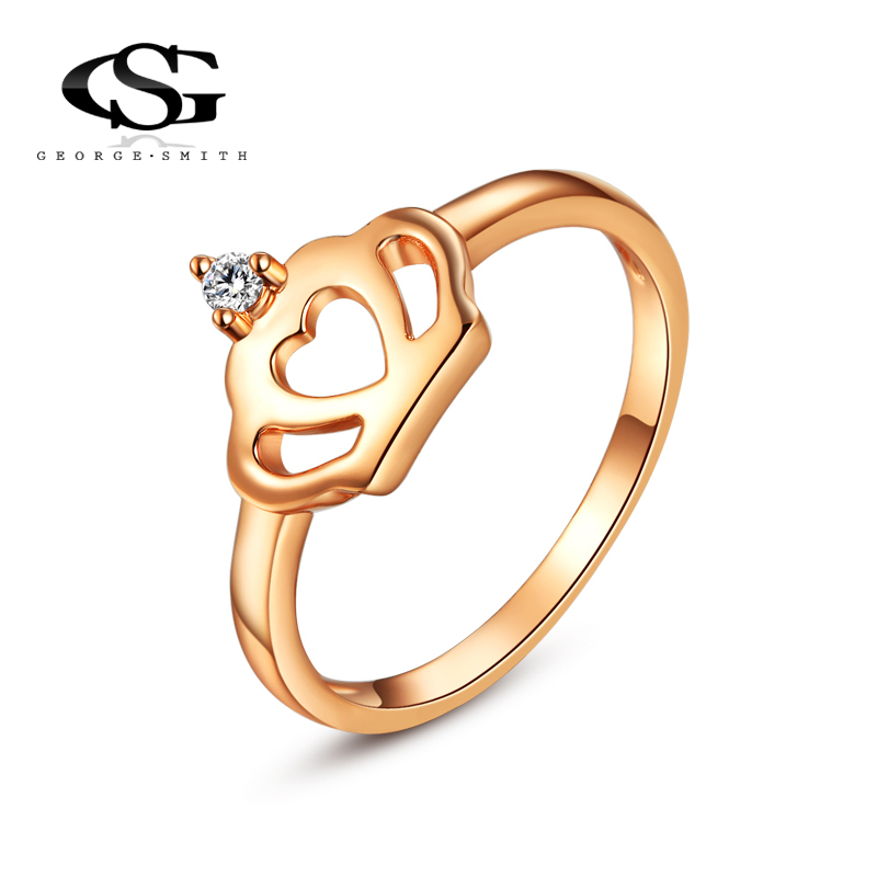 2015 New G&S Rose Gold Plated Classic Simple Design heart Solitaire Imperial crown Zirconia forever Wedding Ring free shipping(China (Mainland))