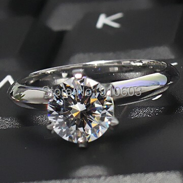 2 Carat Lab Grown Diamond Engagement Ring With 6 Prong Set 925 Sterling Silver Gold Plated Ring Classic Wedding Ring For Women(China (Mainland))
