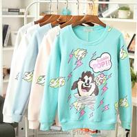 2015  Korea style women O-neck cartoon print  thick velvet pullover hoodies  casual sweatshirts for women fashion coat for women