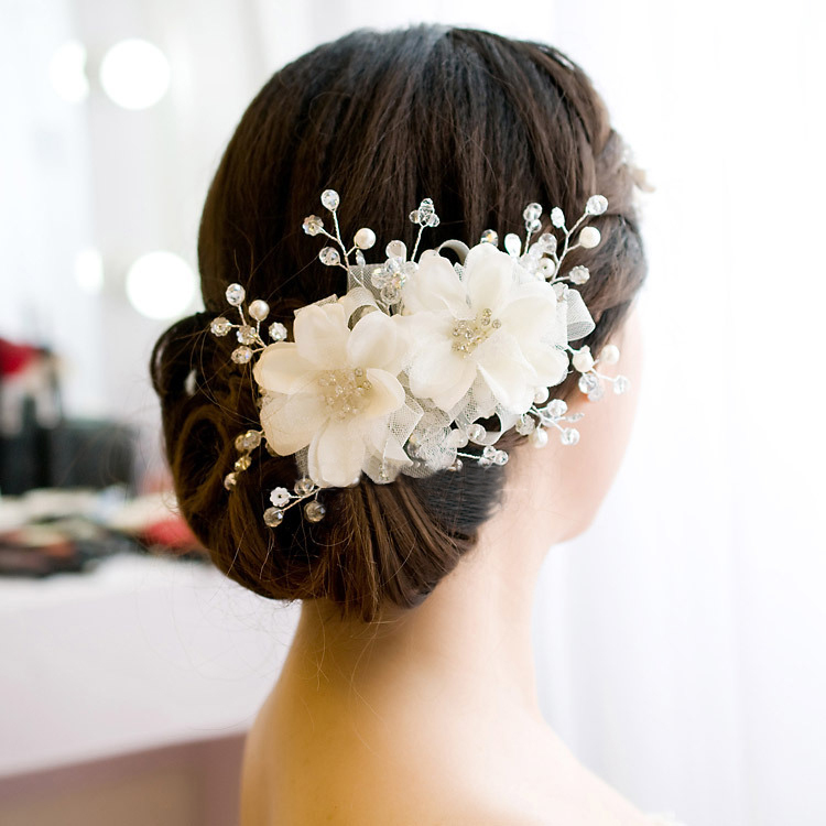 Bridal flower hair accessories the for Wedding ornaments