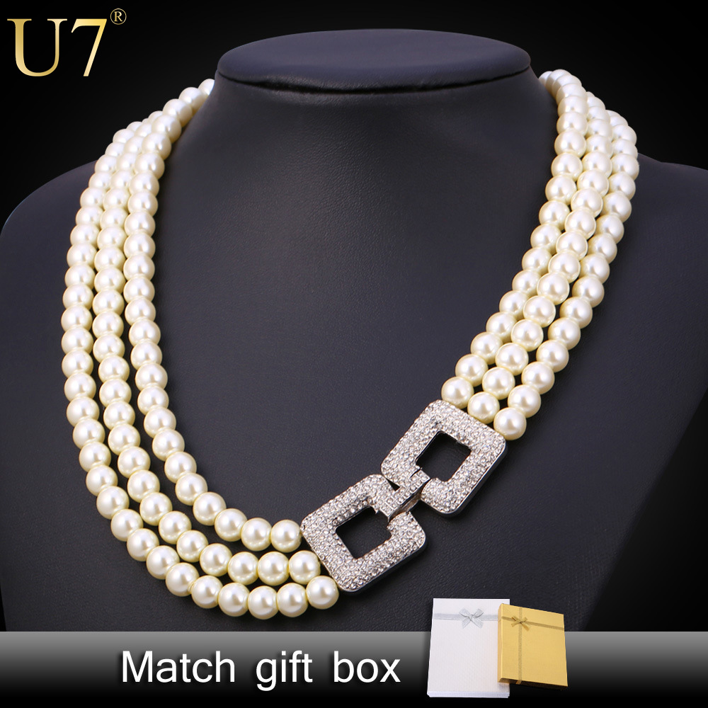 U7 Pearl Jewelry Necklace Women Fashion Jewelry Wholesale Trendy Platinum Plated Multi Layers Wedding Pearl Necklaces N452(China (Mainland))