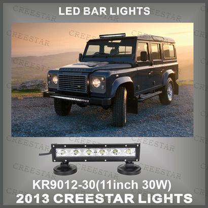 "11"" 30W 12V Single Row CREE LED light bar Spot beam for Mining boat Trucks Engines Tanks 2700 Lm KR9012-30(China (Mainland))"
