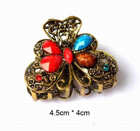 CCF501 Small Claws Vintage Hair Accessory Hair Caught Noble Butterfly Rhinestone Gripper(China (Mainland))