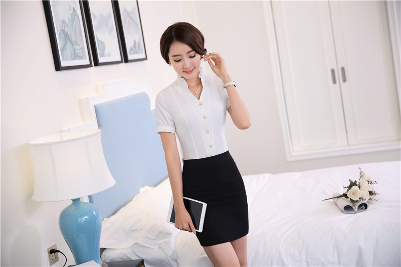 New Professional Formal Business Suits Tops And Skirt 2016 Summer Short Sleeve Office Ladies Shirts Blouse