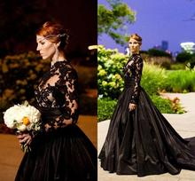 2016 New Black Vintage Gothic Evening Dresses Long Sleeve High Neck Lace Tulle Taffeta A Line Prom Gowns with Sweep Train E67