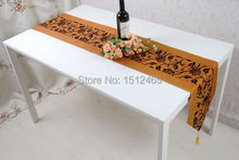 Free shipping,Brand New Orange Damask Flower Blossom Table Runner Wedding Home Favors Table Cloth Decorations 195*33cm ZQ08(China (Mainland))