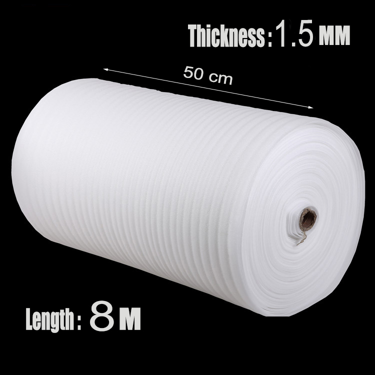 0.5*8m 1Pcs 1.5mm EPE Cushion Shipping Pre-cut Roll Polyethylene Packing Foam Material EPEE Cutting Laser Verpakkings Materiaal(China (Mainland))