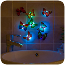 2016 Butterfly Nightlight,Luminous flowers,chuck and stickers,flowers small night lamp,Indoor lighting decorations,wall lights,(China (Mainland))